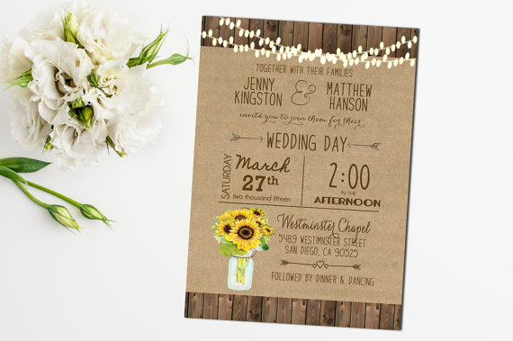 Sunflower Wedding Invitation Mason Jar Rustic Printable Digital File Country Barn Wood Hanging Lights