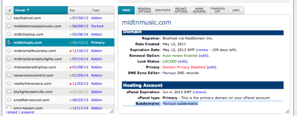 Selet your domain then choose manage subdomains