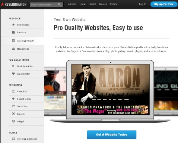 ReverbNation Site Builder