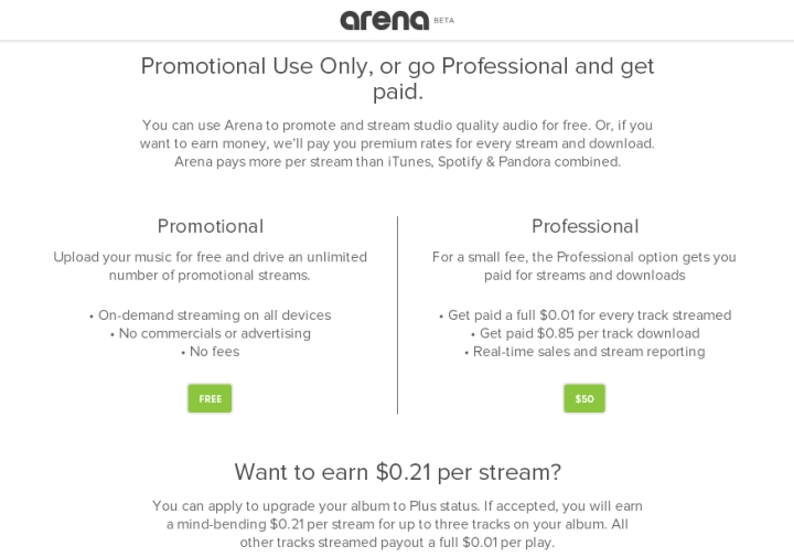 Arena Streaming for Artists