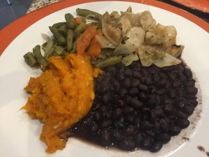 Plate with black beans
