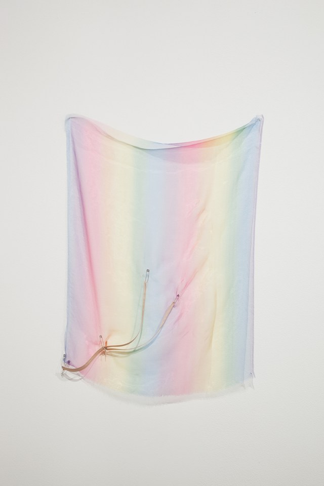 seven, 2012. Organza, safety pins and zip. 25 ½ x 33 ½ inches.