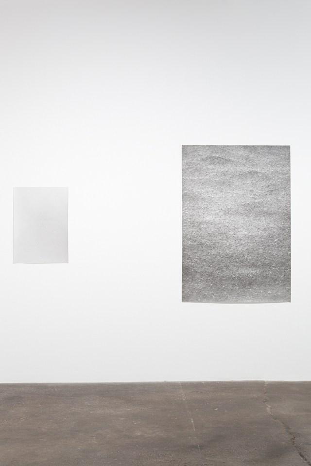 Jochen Lempert, installation view, Midway Contemporary Art. Left: Untitled, 2009. B&w photograph, silver gelatin print. 29 x 21 inches. Right: Regen (Rain), 2007. B&w photograph, silver gelatin print. 60 x 41 ½ inches.