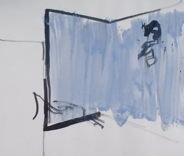 Untitled, 2011. Ink and gouache on paper. 16 ½ x 14 inches, framed.