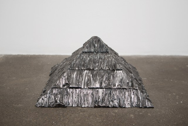 Untitled (Large Pyramid), 2014. Steel. 10 x 20 x 20 inches.