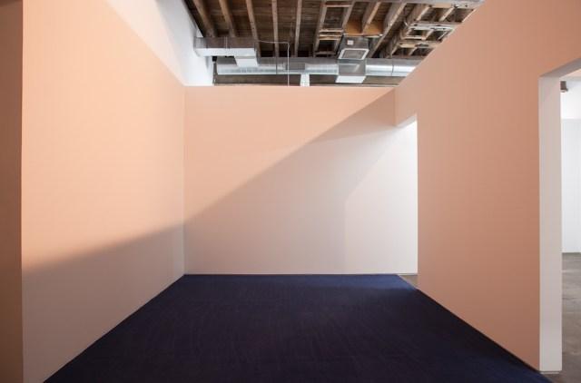 44.989569 x -93.252357, 2012. Wood, sheetrock, metal reglets, latex paint, carpet, daylight fluorescent tubes, and halogen spots. 120 x 330 x 376 inches.