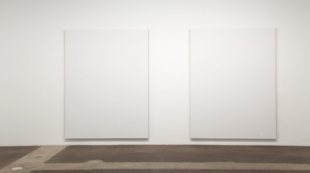 800 Numbers, installation view. Left: Untitled, 2009. Rustoleum flat white enamel and acrylic on linen. 72 x 94 ½ x 2 inches. Right: Untitled, 2009. Rustoleum flat white enamel and acrylic on linen. 72 x 94 ½ x 2 inches.