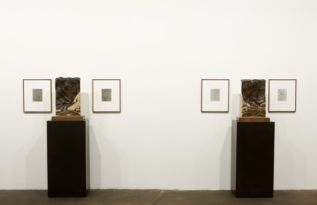 Anthony Pearson, Gallery 1 installation view. Left: Untitled (Pour Arrangement), 2008. Bronze sculpture with liver of sulfur patina, base, pedestal, two framed solarized silver gelatin photographs. 57 x 44 x 15 inches. Unique. Right: Untitled (Pour Arrangement), 2008. Bronze sculpture with liver of sulfur patina, base, pedestal, two framed solarized silver gelatin photographs. 57 x 44 x 15 inches. Unique.