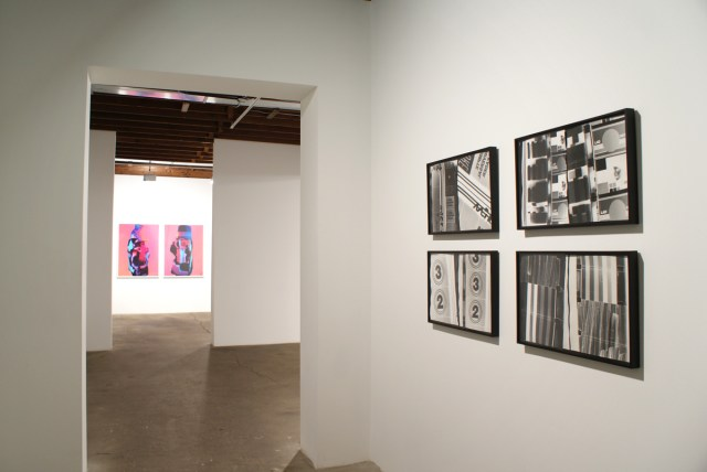 Catawampus (for H.D.), installation view. Left: Nancy de Holl, Old Hat/New Hat, 2007. Right: Amy Granat and Matt Keegan, Seasons (Still Stills) #2, #3, #5, #1, all works 2008.