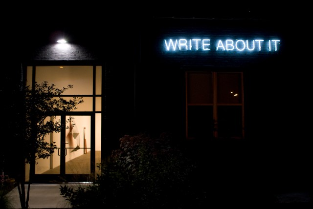 David Lieske, Untitled (write about it), 2008, neon, dimensions variable.