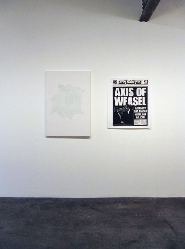 Axis of Praxis, installation view. Left: Aaron Young and Nate Lowman, The Magic Bullet, 2006. Reflective bead and silkscreen ink on canvas. 54 inches x 37 inches. Right: Nate Lowman, Axis of Weasel, 2006. Xerox photocopy. 42 inches x 36 inches. Edition of 5.