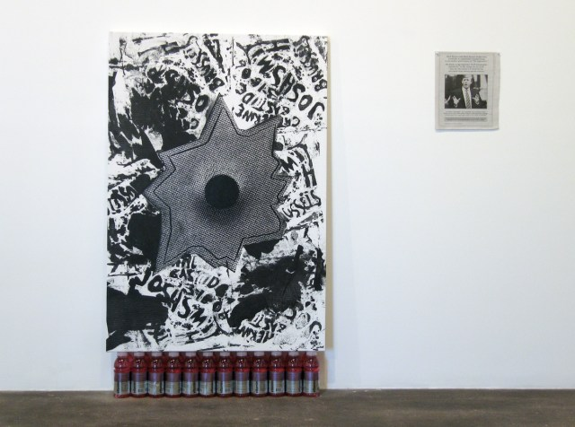 Axis of Praxis, installation view. Left: Josh Smith and Nate Lowman, Untitled, 2006. Acrylic and silkscreen ink on canvas with vitamin water. 62 inches x 37 inches. Right: Nate Lowman, Congratulations, 2006. Newspaper page.