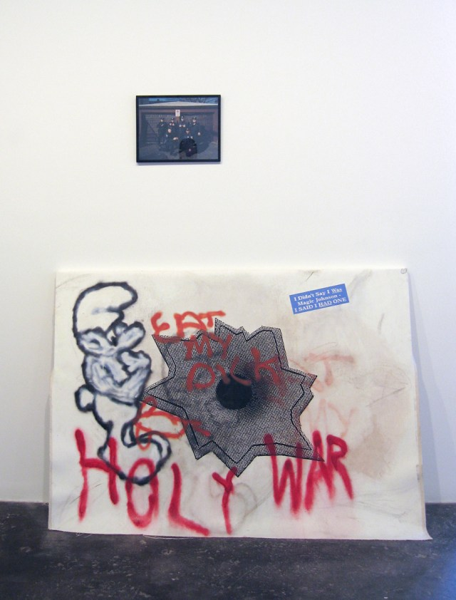 Axis of Praxis, installation view. Top: Aaron Young, Flashin' (N.H.C), 2004. C-print. 11 inches x 14 inches. Bottom: Dan Colen and Nate Lowman, Holy War, 2006. Oil and silkscreen ink on canvas.