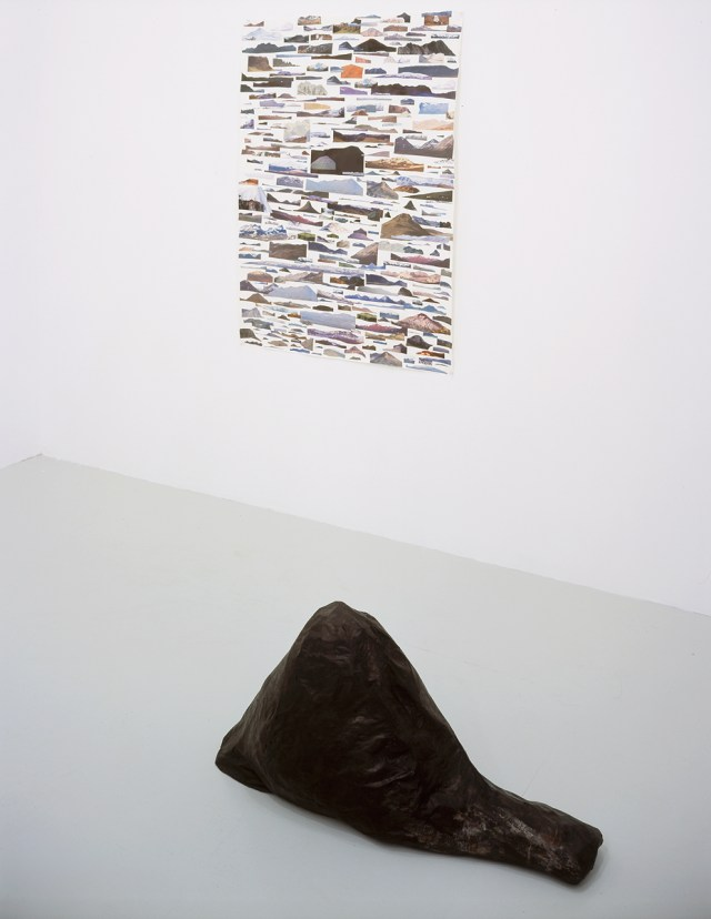 Jessica Jackson Hutchins. Top: Untitled, 2002. Collage on paper. Bottom: Sùlur, 2002. Papier maché and ink.