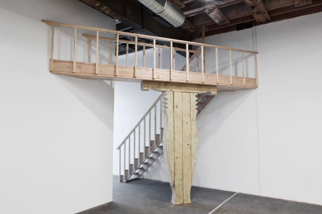 Deda Bodzi Balcony, 2016. Wood, touch sensitive panel and copper plate. 158 x 163 x 182 inches.