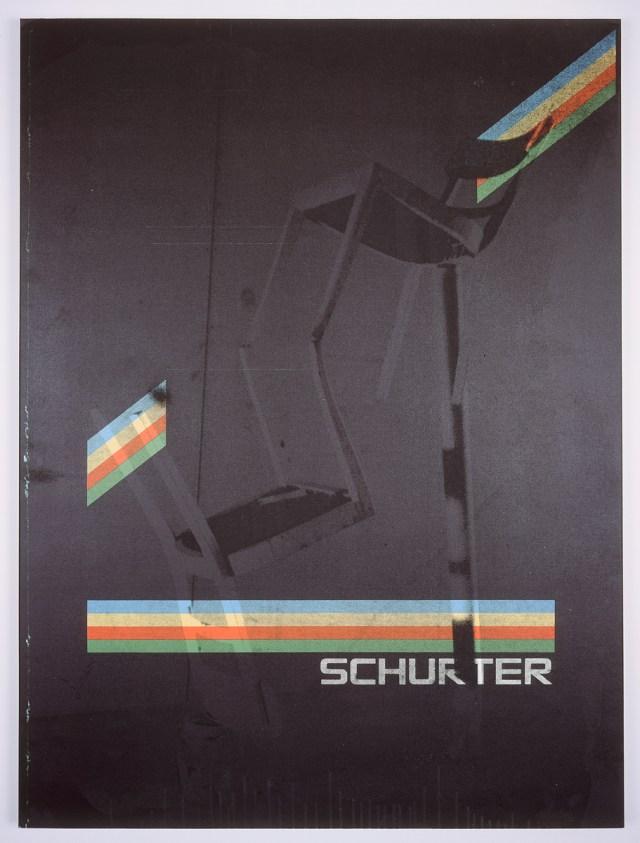 Schurter, 2004. Digital ink jet and silkscreen enamel on canvas. 36 x 48 inches.