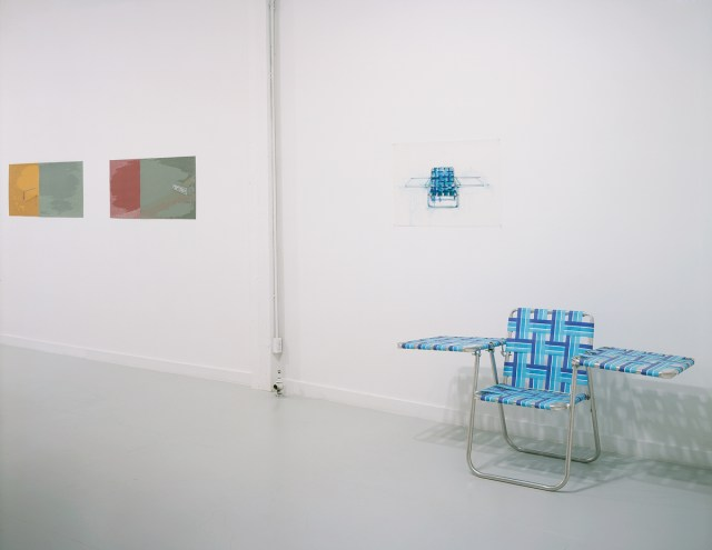 Drawn from LA (home is where the heart is), installation view. Left: Andre Yi, Billboard, 2001. Right: Stephen Shackelford, Study for law chair with wings, 2001, and Lawn chair with wings, 2001. Courtesy of Acura-Hansen Gallery.