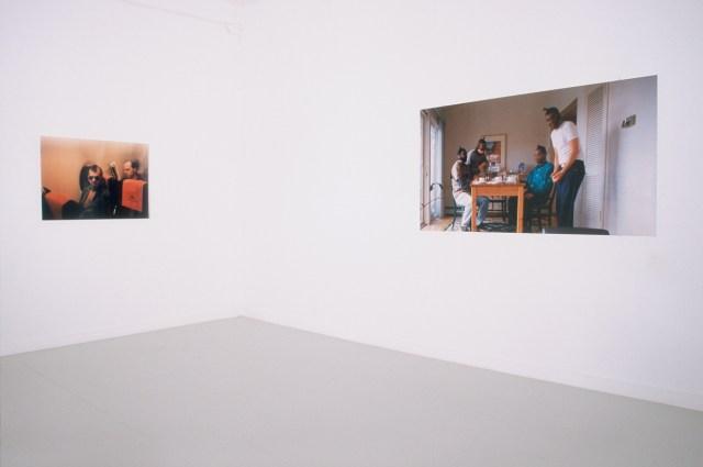 Yasser Aggour. Left: The Misconformist (Bickle), 1999. Performance, Cibachrome. Right: Tea Party (Family Portrait), 2001. Digital C-Print.
