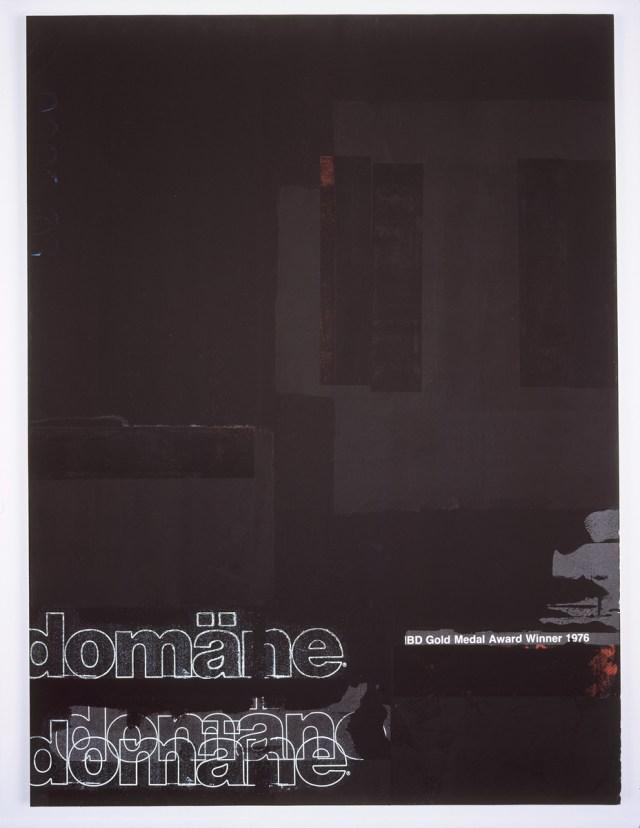 Domäne Black, 2004. Digital ink jet and silkscreen enamel on canvas. 36 x 48 inches.