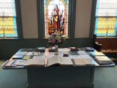 175th Anniversary Hall of History display table