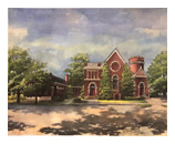 Watercolor print of Midway Christian Church building