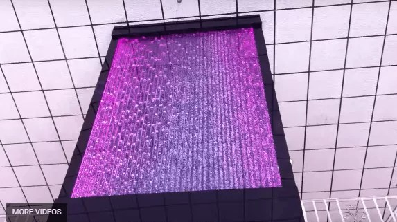 Custom Bubble Wall 30 High Water Wall Feature with Glass Elevator