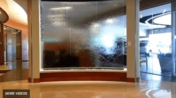 Water Wall Waterfall Feature Custom Glass Water Wall in Lexus Dealership near Atlanta GA