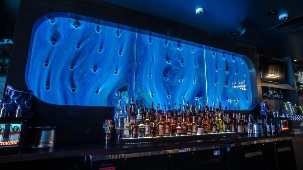 Bubble Wall Rod Peg Style Swirley at Courduroy Bar in Las Vegas Nevada 2
