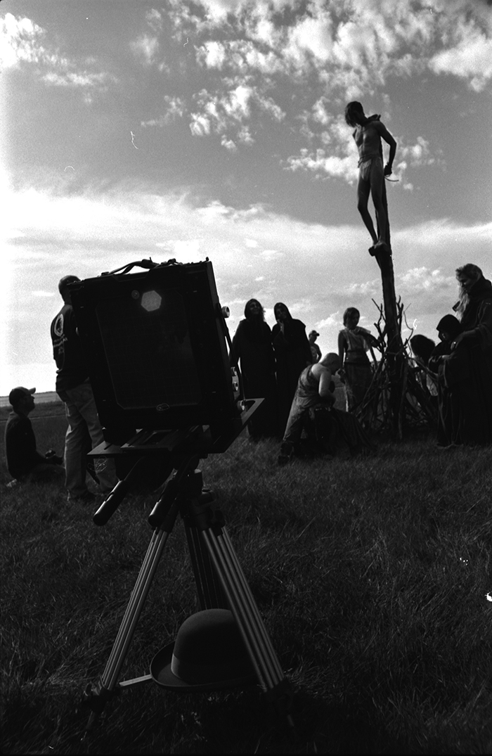 Setting up for a unique photo shoot in Bismarck, Shane Balkowitsch's camera stands back, ready to capture light. Dustin White photo.