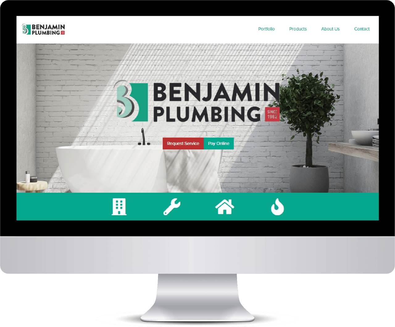 Benjamin Plumbing home page on desktop