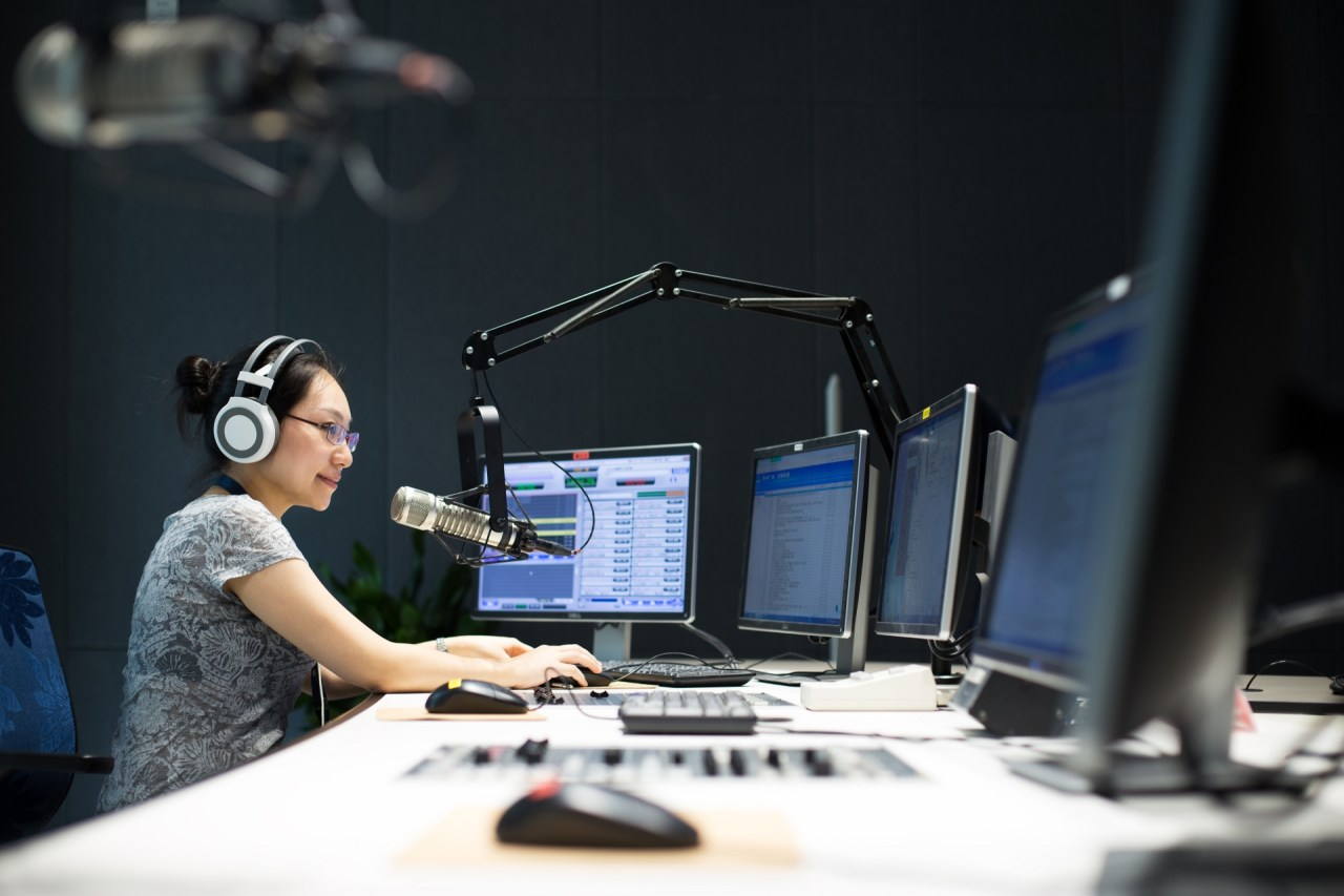 Radio DJ doing a broadcast