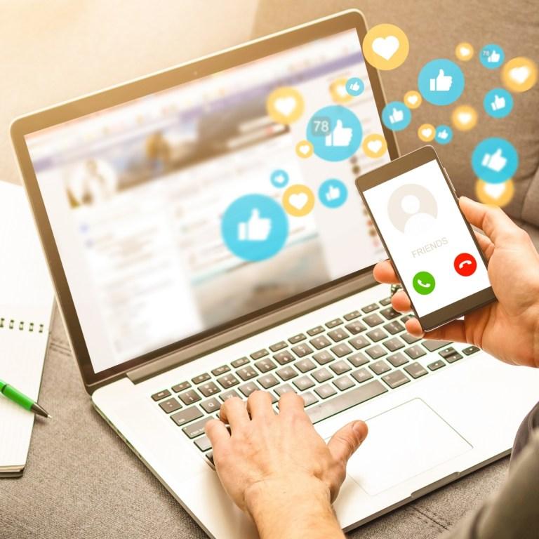 using smart phone,Social media concept