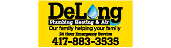 Mid-West Family Springfield MO's client DeLong Pluming Heating and Air logo