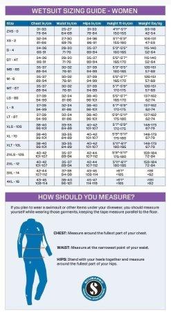 women wetsuit size chart