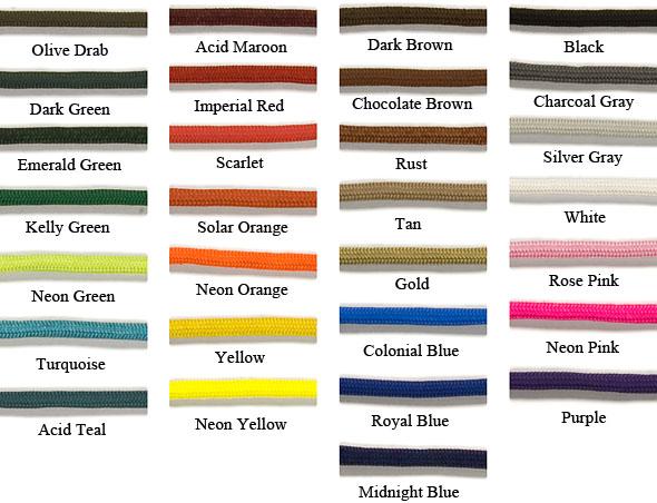 Paracord Colors Chart