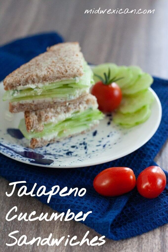 Jalapeno Cucumber Sandwich with fresh picked cherry tomatoes