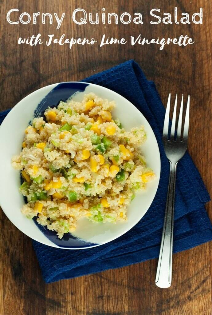 Nutritious and delicious, Corny Quinoa Salad will quickly become a summertime staple with its sweet pops of corn, earthy bell pepper, mild green onion, and zingy jalapeno lime vinaigrette.