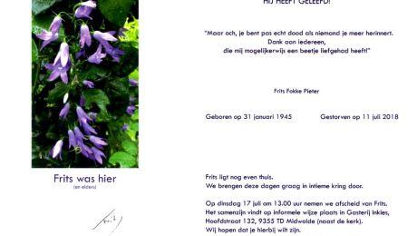 Overlijdensbericht Frits Swart 11-07-2018