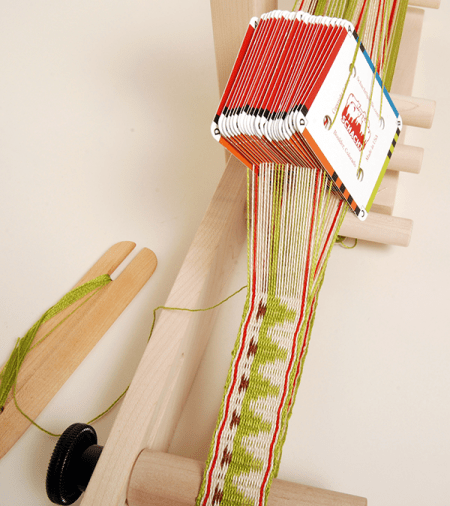 You can also use card weaving cards on the Inkle Loom! Cards sold separately.