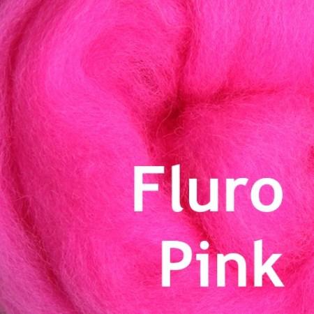 Fluro Pink Wool Felting Fiber