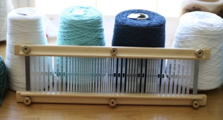 The Weaver's Choice Heddle comes in four weaving widths, and you choose where, and what size each slot and hole will be!