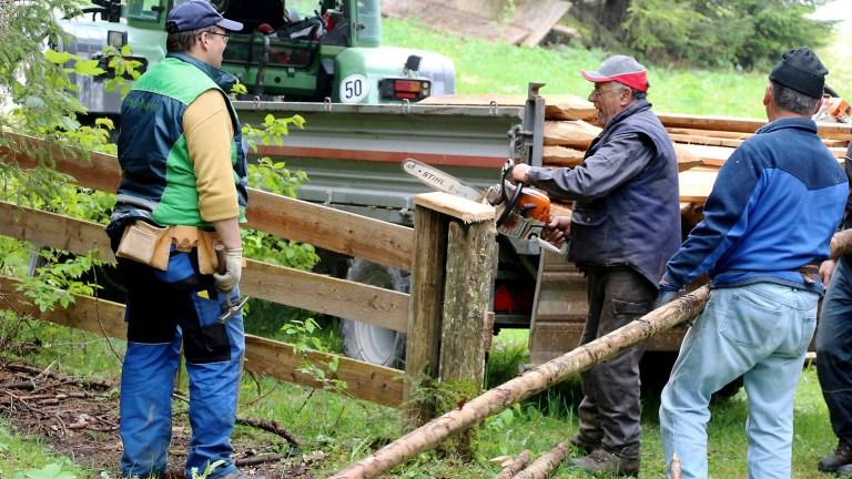 Marienbergalpe - Vor dem Viehauftrieb müssen die Winterschäden repariert werden, Foto: Knut Kuckel