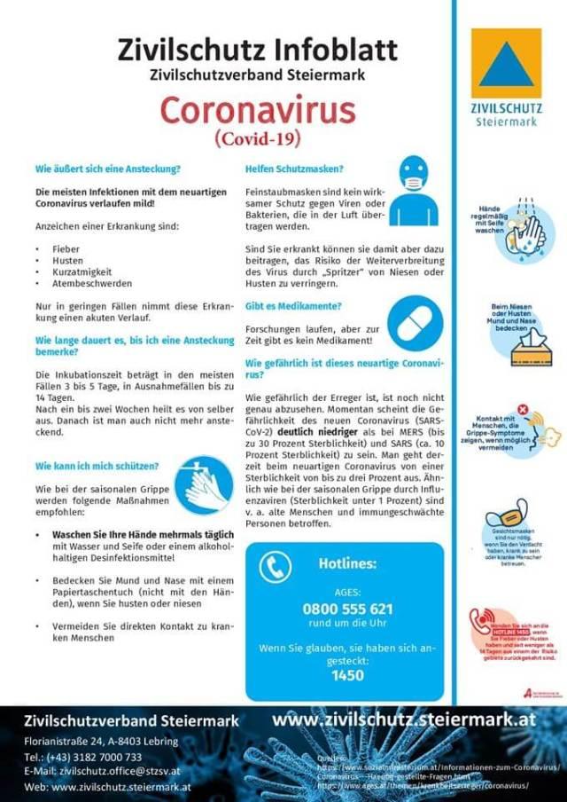 Infoblatt Zivilschutz Steiermark zum Coronavirus