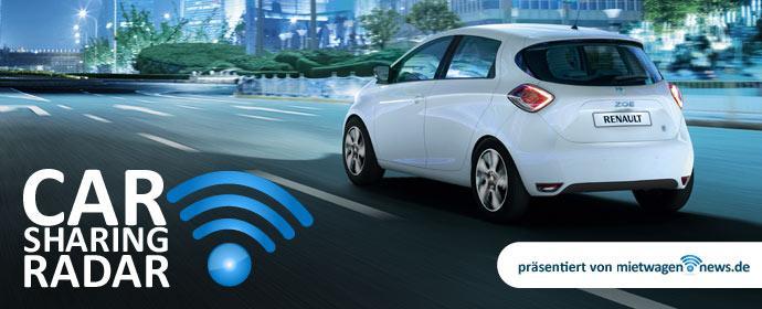 Carsharing-Radar Renault ZOE bei den kleinen Carsharing Diensten sehr beliebt