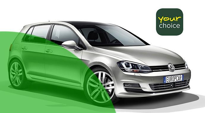 Europcar bietet direkt buchbare Mietwagen an - für 5 Euro mehr garantiert Golf fahren.