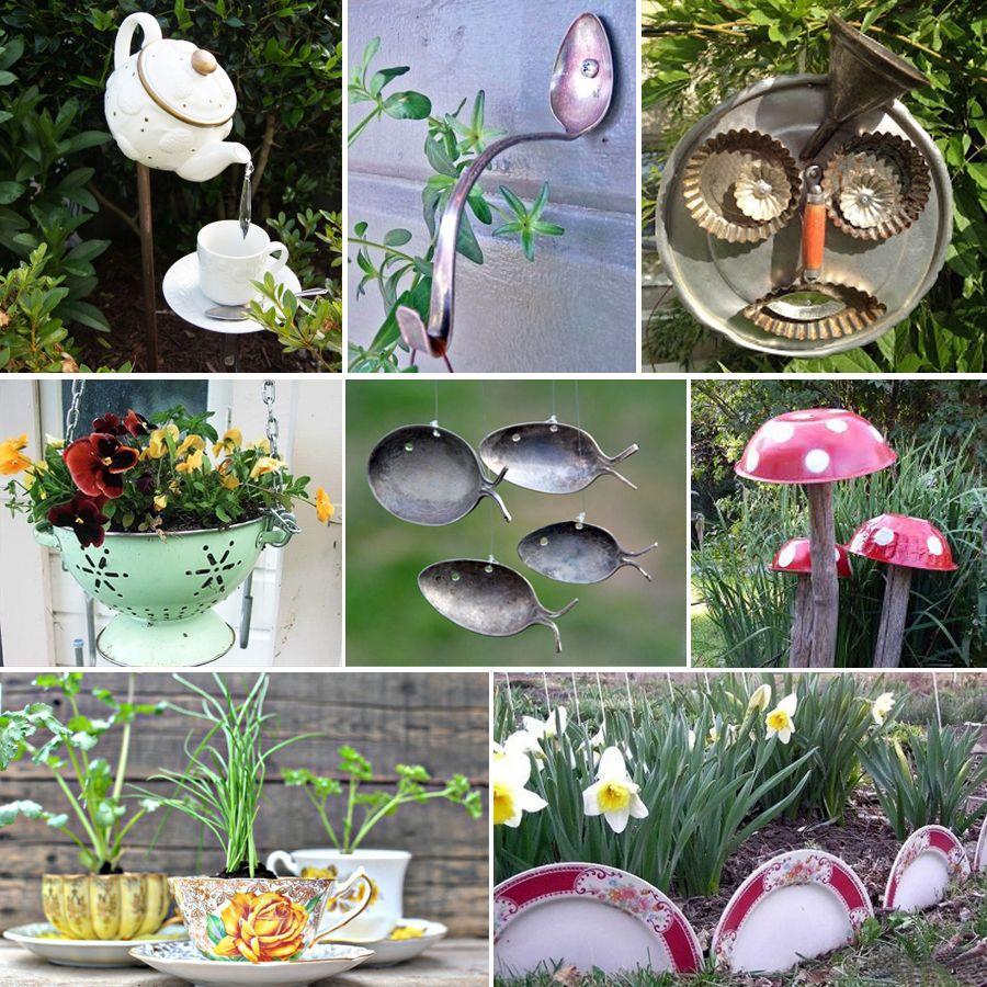 decoration de jardin en objets de recup
