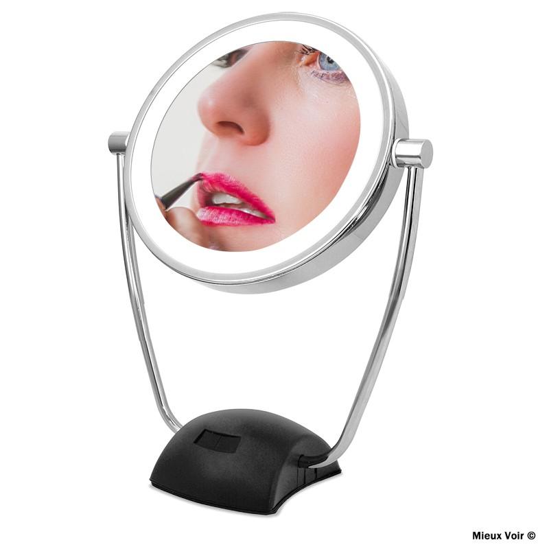 Miroir Grossissant X10 Eclairant Eclairage Auto Mieux Voir