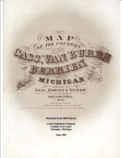 1860 Township Maps Cass County Michigan Cover Page 1860 property maps
