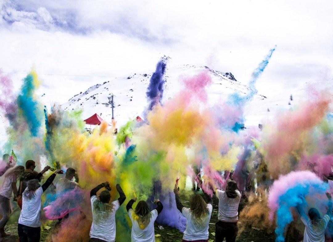 Colour party in Grimentz