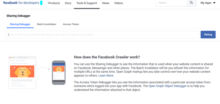 Facebook Debugger tool fix image social share issues